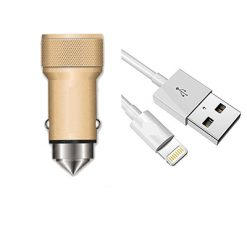 JC31 2 USB DUAL Car Charger 3.1A Gold - IOS With Free DataCable